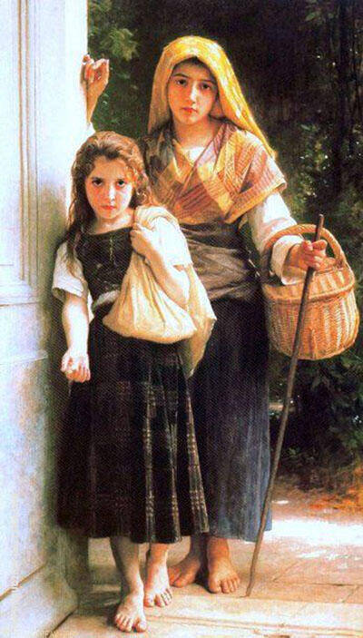Les Petites Mendicantes The Little Beggar Girls 1890 By William-Adolphe Bouguereau Replica Paintings on Canvas - Reproduction Gallery