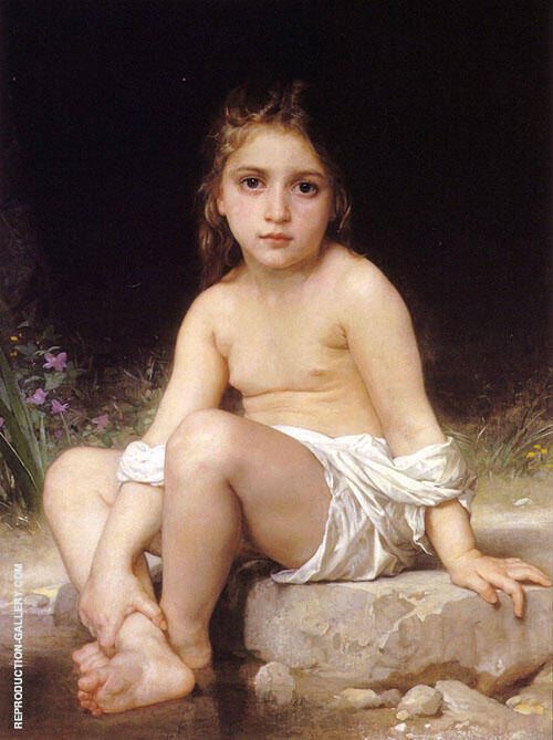 Child at Bath 1886 Painting By William-Adolphe Bouguereau
