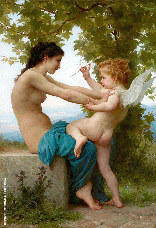 A Young Girl Defending Herself Against Eros 1880 By William-Adolphe Bouguereau Replica Paintings on Canvas - Reproduction Gallery