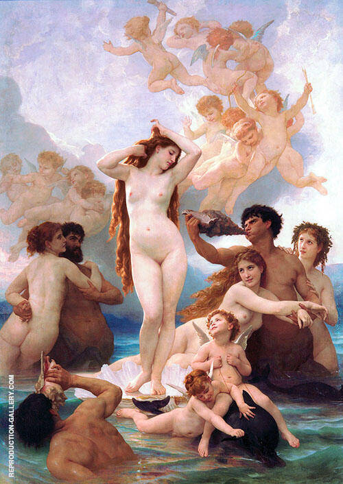 The Birth of Venus 1879 By William-Adolphe Bouguereau Replica Paintings on Canvas - Reproduction Gallery