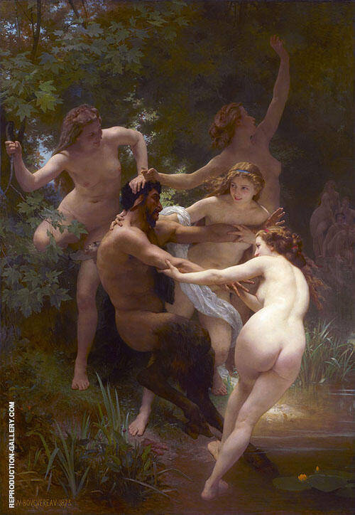 Reproduction of Nymphs and Satyr 1873 by William-Adolphe Bouguereau | Oil Painting Replica On CanvasReproduction Gallery