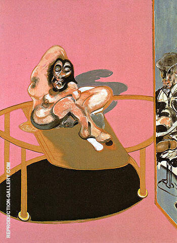 Study of a Nude with Figure in a Mirror By Francis Bacon Replica Paintings on Canvas - Reproduction Gallery
