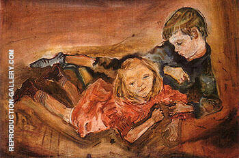 Children Playing 1909 By Oskar Kokoshka - Oil Paintings & Art Reproductions - Reproduction Gallery