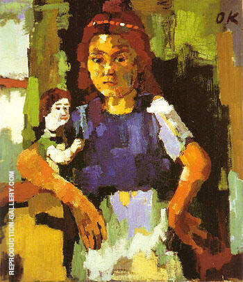 Young Girl with Doll 1921 22 By Oskar Kokoschka