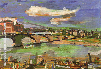 Dresden Augustus Bridge with Steamboat II 1923 By Oskar Kokoschka
