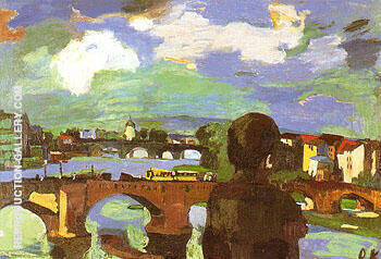 Dresde Bridges of the Elbe with Figure Seen from the Back 1923 By Oskar Kokoschka