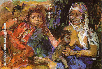 Arab Woman and Children 1929 Painting By Oskar Kokoschka