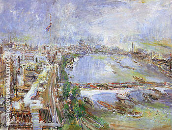London View of the Thames from Shell Mex House 1959 By Oskar Kokoschka