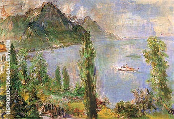Lake Leman with Steamboat 1957 Painting By Oskar Kokoshka