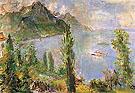 Lake Leman with Steamboat 1957 By Oskar Kokoschka