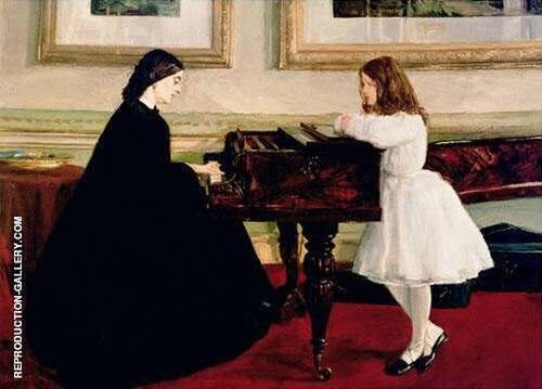 At the Piano 1858 By James McNeill Whistler Replica Paintings on Canvas - Reproduction Gallery
