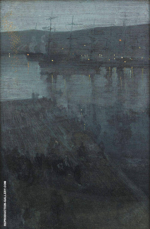 Reproduction of Nocturne in Blue and Gold Valparaiso Bay 1866 by James McNeill Whistler | Oil Painting Replica On CanvasReproduction Gallery