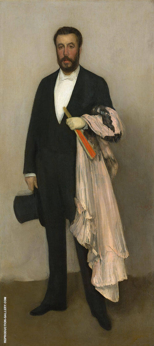 Arrangement in Flesh Colour and Black Portrait of Theodore Duret 1883 By James McNeill Whistler Replica Paintings on Canvas - Reproduction Gallery