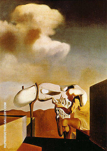 Average Atmospherocephalic Bureaucrat in the Act Milking a Cranial Harp 1933 By Salvador Dali
