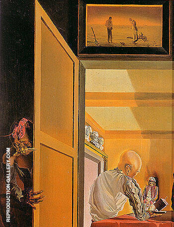 Gala and the Angelus of Milet Immediately Preceding the Arrival of the Conic Anamorphosis 1933 By Salvador Dali