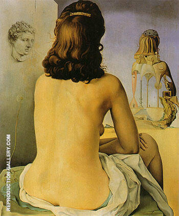 My Wife Naked Looking at her own Body which is Transformed into Steps Three Vertebrae of a Column Sky and Architecture 1945 By Salvador Dali