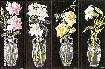Cut Flowers in Vases 1938 By Tamara de Lempicka Replica Paintings on Canvas - Reproduction Gallery