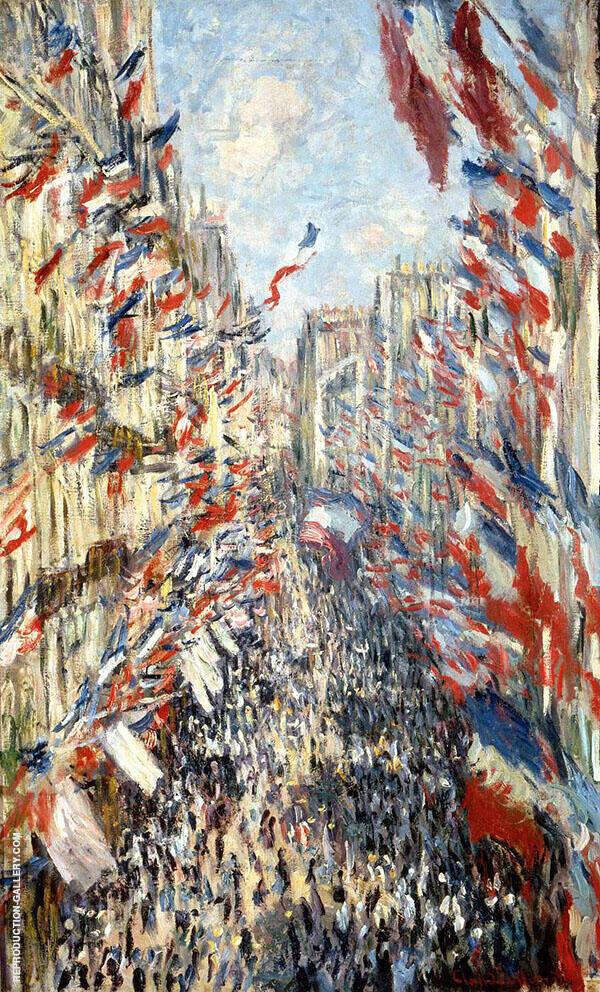 Rue Montorgueil Paris Festival of June 30th 1878 By Claude Monet