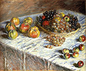 Still Life with Grapes and Apples 1880 By Pierre Auguste Renoir
