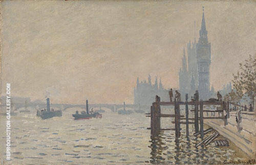 The Thames Below Westminster 1871 By Claude Monet Replica Paintings on Canvas - Reproduction Gallery