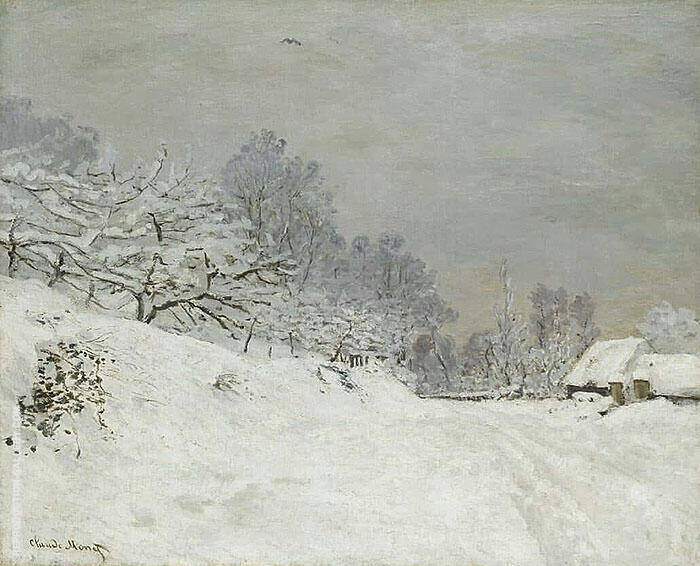 Near Honfleur Snow Painting By Claude Monet - Reproduction Gallery