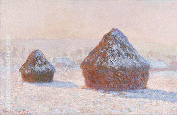 Wheatstacks Snow Effect Morning 1891 By Claude Monet - Oil Paintings & Art Reproductions - Reproduction Gallery