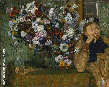 Woman With a Vase of Flowers 1865 By Edgar Degas - Oil Paintings & Art Reproductions - Reproduction Gallery