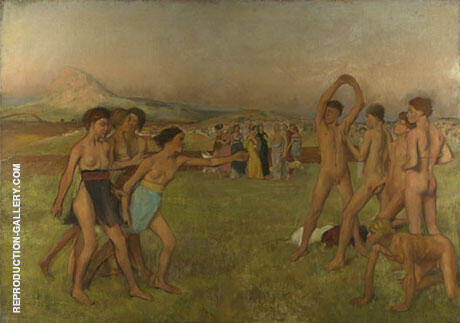 Spartan Girls Provoking Young Man 1880 Painting By Edgar Degas