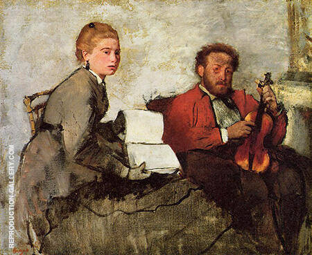 Violinist and Young Woman Holding the Music 1870 By Edgar Degas
