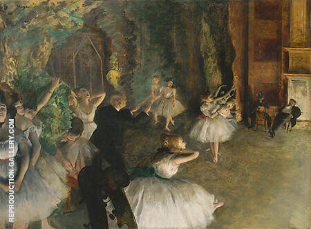 Ballet Rehearsal on Stage 1874 By Edgar Degas Replica Paintings on Canvas - Reproduction Gallery