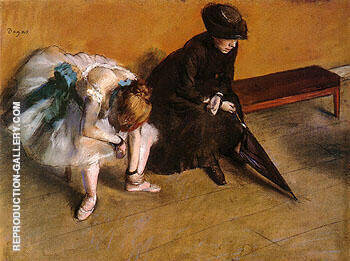 Ballerina and Woman with Umbrella on a Bench L Attente 1882 By Edgar Degas