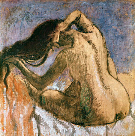 Woman Combing Her Hair 1897 By Edgar Degas - Oil Paintings & Art Reproductions - Reproduction Gallery