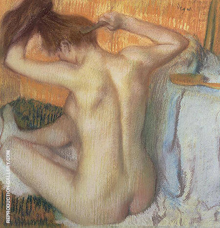 After the Bath Woman Combing Her Hair 1885 By Edgar Degas
