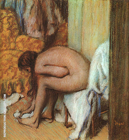 After the Bath Woman Drying Her Feet By Edgar Degas