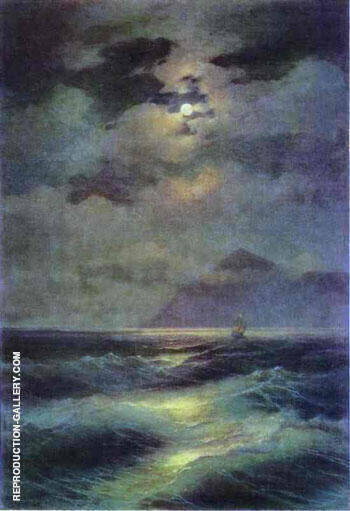 View of the Sea by Moonlight. 1878 By Ivan Aivazovsky Replica Paintings on Canvas - Reproduction Gallery