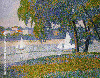 La Seine a Courbevoie La Grande Jatte By Charles Angrand - Oil Paintings & Art Reproductions - Reproduction Gallery