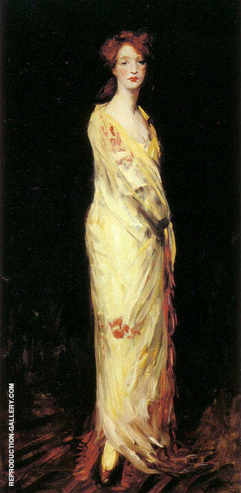 Marjorie In  A Yellow Shawl 1908 By Robert Henri - Oil Paintings & Art Reproductions - Reproduction Gallery