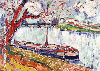 Barges on the Seine near Le Pecq 1906 By Maurice de Vlaminck