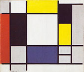 Composition with Yellow Red Black Blue Grey By Piet Mondrian