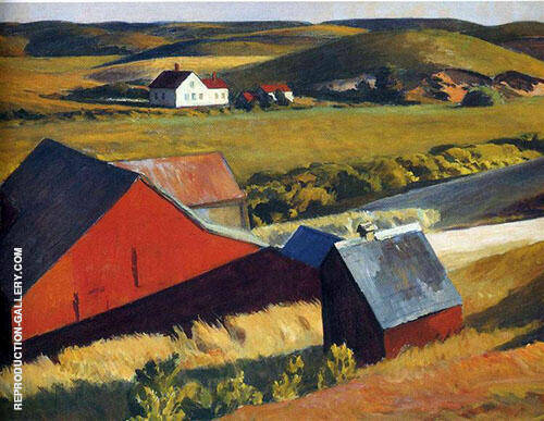 Reproduction of Cobbs Barns and Distant House 1930 by Edward Hopper | Oil Painting Replica On CanvasReproduction Gallery