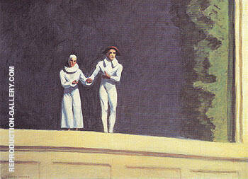 Two Comedians 1966 By Edward Hopper - Oil Paintings & Art Reproductions - Reproduction Gallery