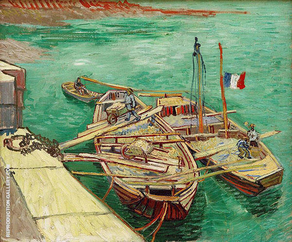 Quay with Men Unloading Sand Barges 1888 Painting By Vincent van Gogh