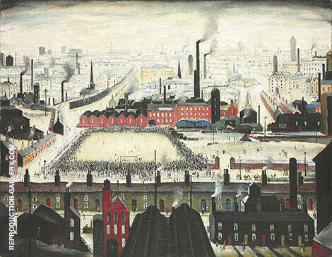 The Football Match c1950 By L-S-Lowry - Oil Paintings & Art Reproductions - Reproduction Gallery