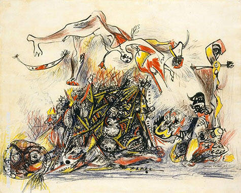 Reproduction of War 1947 by Jackson Pollock | Oil Painting Replica On CanvasReproduction Gallery