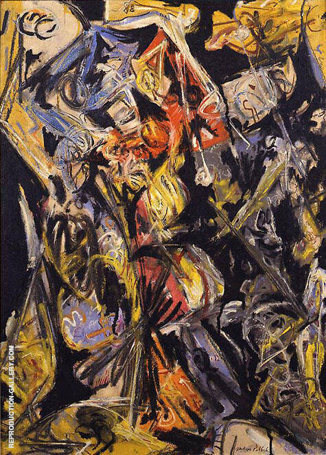 Composition with Red Triangles 1945 By Jackson Pollock