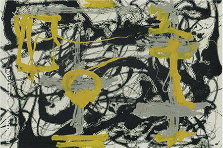 Number 12A 1948 Yellow Gray Black By Jackson Pollock