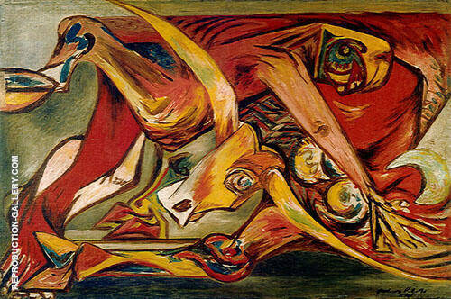 Reproduction of Man Bull Bird 1938 by Jackson Pollock | Oil Painting Replica On CanvasReproduction Gallery