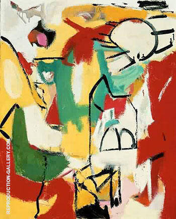Black on Green Red and Yellow 1948 By Franz Kline