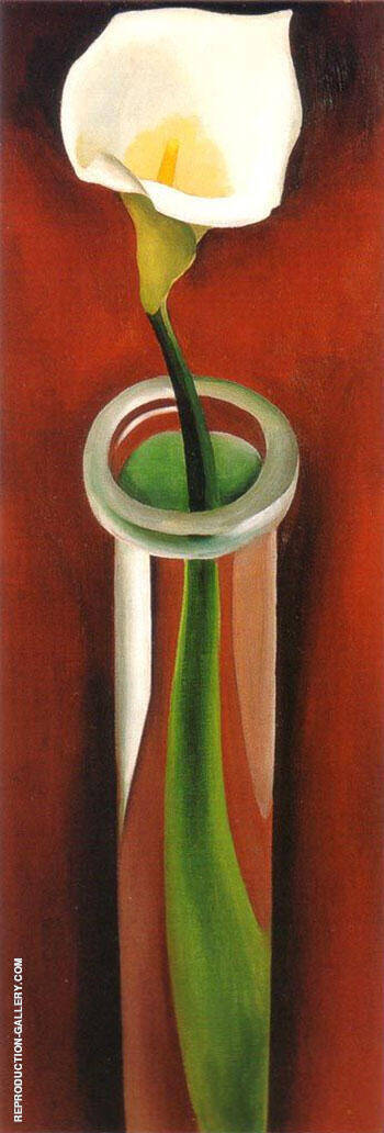 Calla Lilies In Tall Glass 1923 No 2 By Georgia O'Keeffe - Oil Paintings & Art Reproductions - Reproduction Gallery