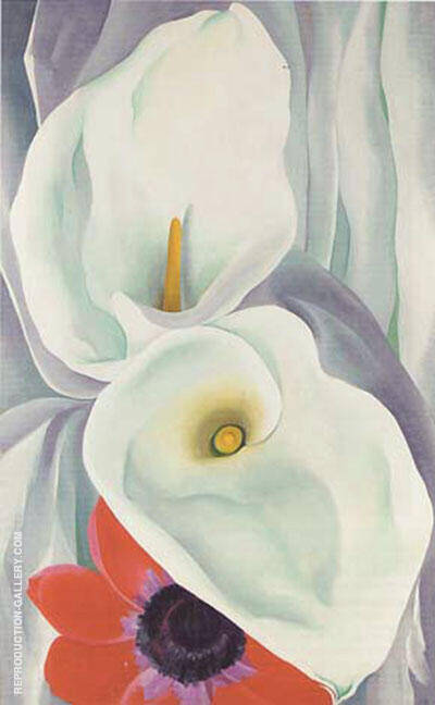 Calla Lilies With Red Anemone 1928 By Georgia O'Keeffe